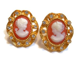 R.J. Graziano cameo clip earrings on card with signature gold plate and Austrian crystal embellishments