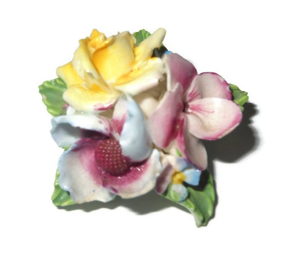 Bone china floral brooch English 1940s hand-made painted signed Crown China Crafts, 'Made in England, Mill St. Stoke on Trent'