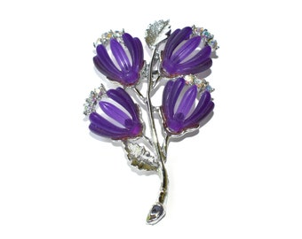 Purple floral brooch, aurora borealis rhinestone accents, lucite open petals, tulip pin, large silver plated flower