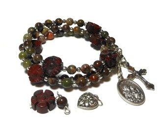 "Interchangeable Rosary bracelet ""St. Joseph"" five decade, Sierra agate beads, brecciated jasper floral padres, silver plated, handmade"
