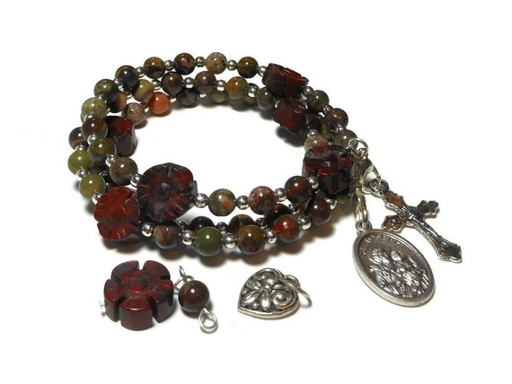 "Interchangeable Rosary bracelet ""St. Joseph"" five decade, Sierra agate beads, brecciated jasper floral padres, silver plated"
