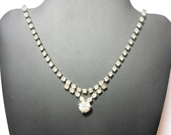Rhinestone wedding choker with a decorative front drop and Juliana or Kramer style and construction