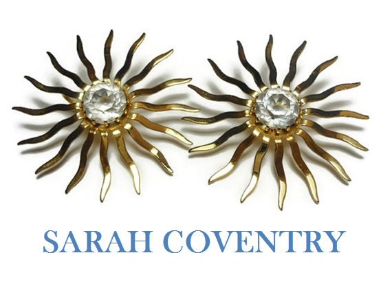 "Sarah Coventry earrings,  1959 Fascination probably not Dainty Fascination,  large 2"" starburst clip earrings, crystal center"