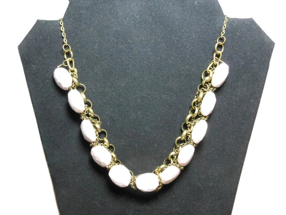 Light pink and cream necklace, acrylic faceted beads, antiqued brass chains, light weight