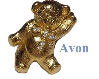 Avon teddy bear brooch pendant, adorable companion with rhinestone bow, gold tone, 1992