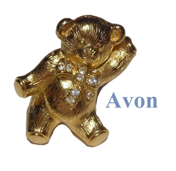 Avon teddy bear brooch pendant, adorable companion with rhinestone bow, gold tone, 1992
