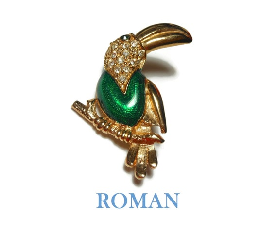 Roman signed Toucan brooch, green enamel pin, pave rhinestone, green eye, figural bird on branch, gold tone