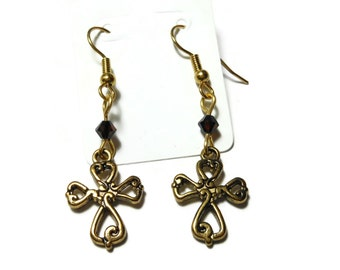 Small cross earrings, gold tone ornate crosses, gold plated french wires, root beer brown Swarovski crystals, dangle earrings, handmade