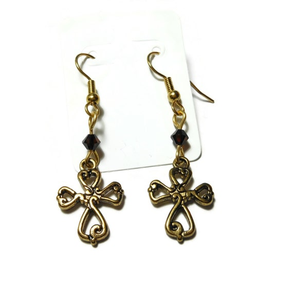 Small cross earrings, gold tone ornate crosses, gold plated french wires, root beer brown Swarovski crystals, dangle earrings