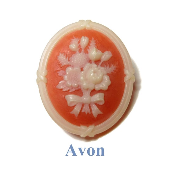 "Avon cameo brooch, 1982 'Cameo Silhouette"" brooch pin, resin peaches and cream floral brooch"