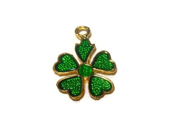 Shamrock charm, four leaf clover, green enamel over gold plate, Phister Ent. 1996