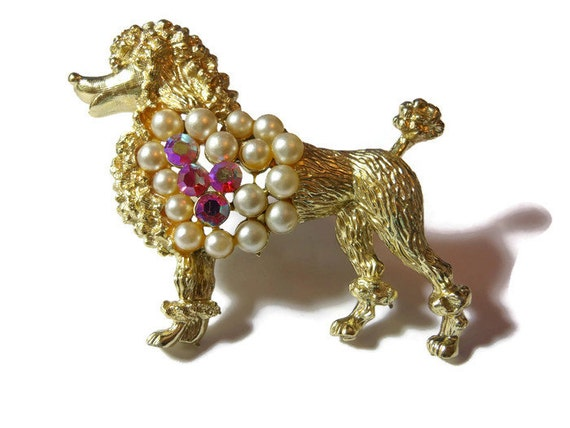 Poodle brooch pin, light gold French poodle with pearls and pink aurora borealis (AB) rhinestones, statement brooch
