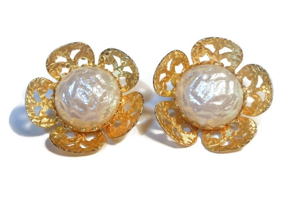 Celebrity pearl earrings, signed, gold and faux pearl flower clip earrings