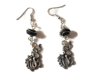 Wire wrapped dragon earrings of Tibetan silver handmade with silver plated wire and caged black  frosted glass beads