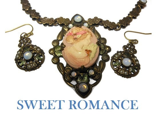 Sweet Romance cameo necklace and earrings, beautiful carved Gibson girl pink, bronze chain and earrings, opaline glass beads