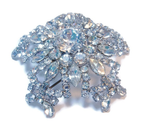 Austrian crystal brooch, large crystal domed faceted Austrian rhinestone crystals