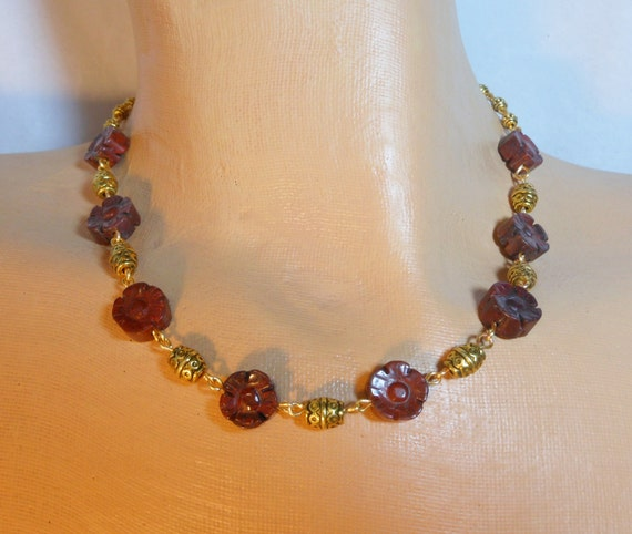 Brecciated Jasper necklace, handmade necklace,  jasper flowers necklace,  gold plated beads and wire wrapping