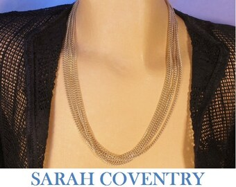 Sarah Coventry chain necklace, classic 6 strand gold-tone curb chain necklace