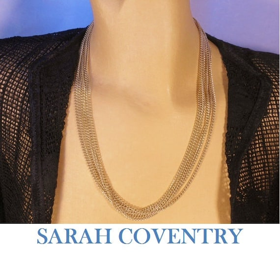 Sarah Coventry necklace, classic 7 strand gold tone chain necklace