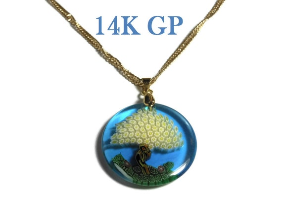 Millefiori glass tree pendant, dark blue disc, yellow flower leaves, 14k gold plated chain, Singapore chain, marked 14KGP