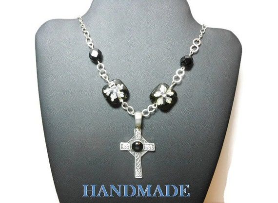 Pewter Celtic cross pendant, Czech lampwork Crystal floral beads, vintage black beads, handmade infinity links  silver plated