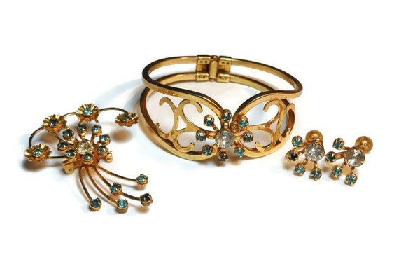 Bugbee and Niles parure, 1940s aqua and clear rhinestone bracelet, earrings and brooch pendant combo set, in original presentation box