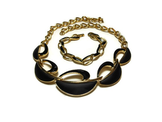 1980s Trifari choker bracelet set, gold and black gloss and flat enamel demi parure with gold tone chain, necklace