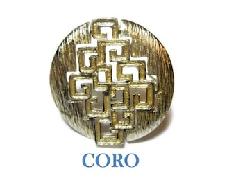 Coro modernist brooch, 1960s geometric cutout shapes in round wavy textured brooch, cubism design, Modrian squares, gold textured, mod