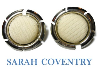 Sarah Coventry earrings, 1961 Color Frame, silver tone round, interchangeable fabric, clip earrings,faux mother of pearl