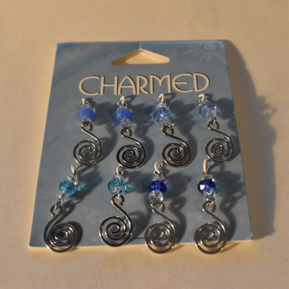 Swirl design for earrings pendants, silver swirls and glass beads,  6x4mm faceted rondelle, 29x10mm flat swirl design, pkg of 8, blue shades