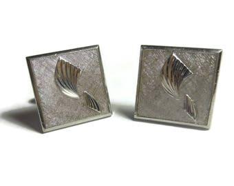 Swank square cuff links, silver Art Deco cuffs with pattern, wedding groom groomsman gift, mid century vintage