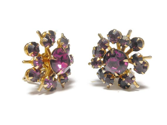 Juliana style Amethyst earrings, amethyst purple rhinestone prong set clip earrings, star starburst style,  perfect for wedding or prom