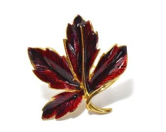 Autumn leaf brooch, dark red fall leaf pin, red and gold enamel leaf glossy