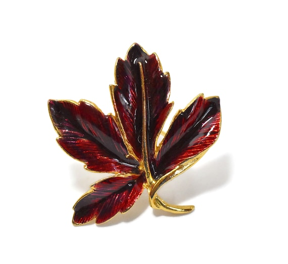 Autumn leaf brooch, dark red fall leaf pin, red and gold enamel leaf glossy