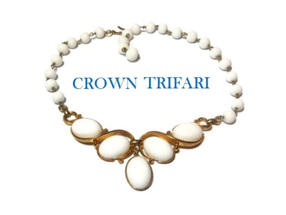 Crown Trifari necklace white milk glass beads with Lucite center pieces seen in 1955 Life Magazine, wedding perfect