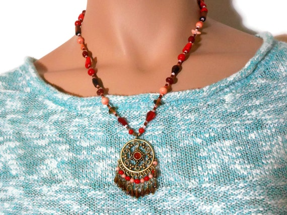 Dream catcher necklace, orange red pink, glass ceramic and wood, beaded necklace with dream catcher pendant