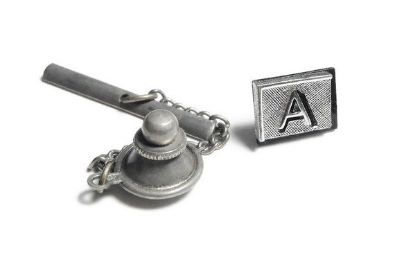 Swank monogrammed Tie tack, monogrammed letter 'A', tie tack pin clip Clasp, rectangular frame on a crisscross background