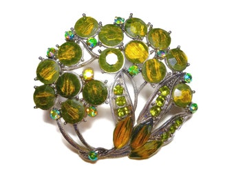Green givre floral brooch, opaque givre glass, faceted chatons, green Aurora Borealis rhinestones, bouquet statement piece, silver plated