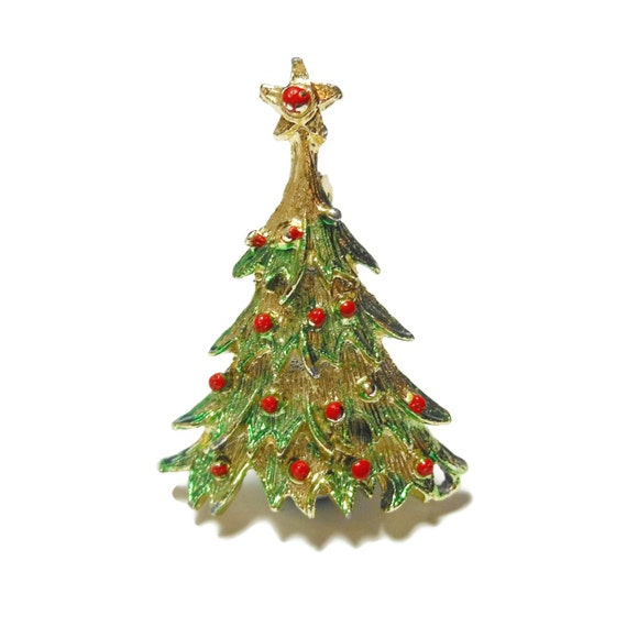 Christmas Tree Brooch, green enamel branch tips,red enamel ornaments