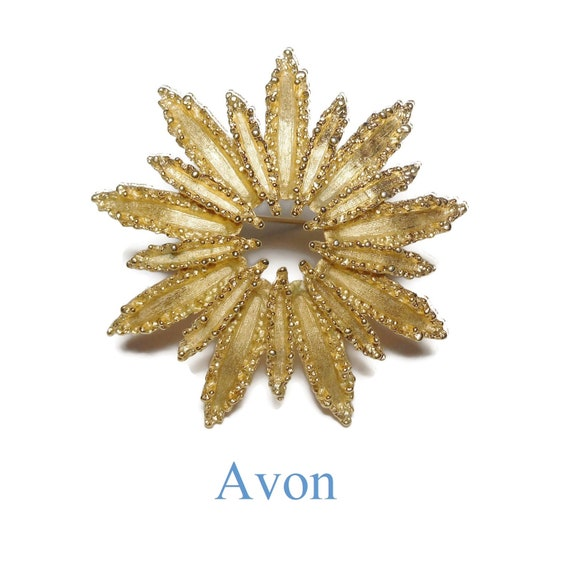 Avon 'Starflower' brooch, layered flower pin, brutalist 1970s ragged, floral pin, star pin, sun burst, gold tone