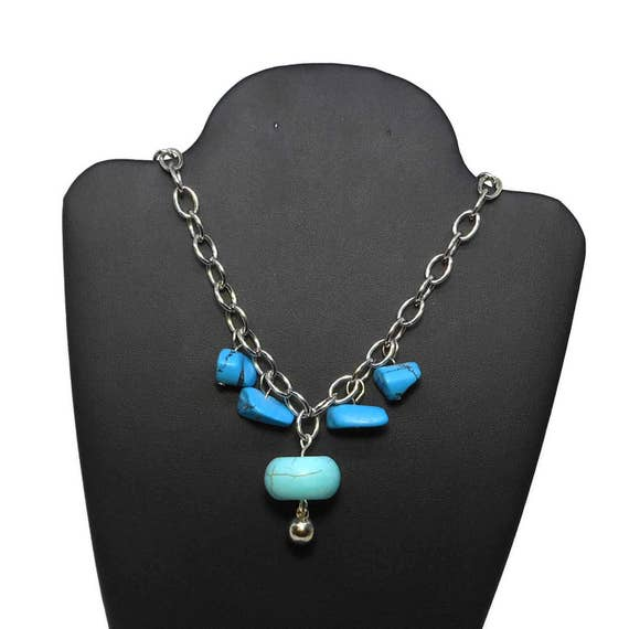 Turquoise necklace, faux turquoise drop, blue nuggets, silver chain