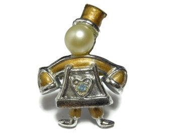 Telephone man brooch, phone scatter pin, pearl head gold, silver plated, gold enamel trim, stick pin, mid century pin, blue rhinestone heart