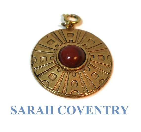 Sarah Coventry pendant, Safari Medallion Necklace, 1978 Red Lucite Cabochon Signed Sarah Cov, Aztec style, African style chain not included