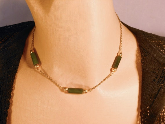 Gold filled Jade choker, tube and gold balls chain necklace