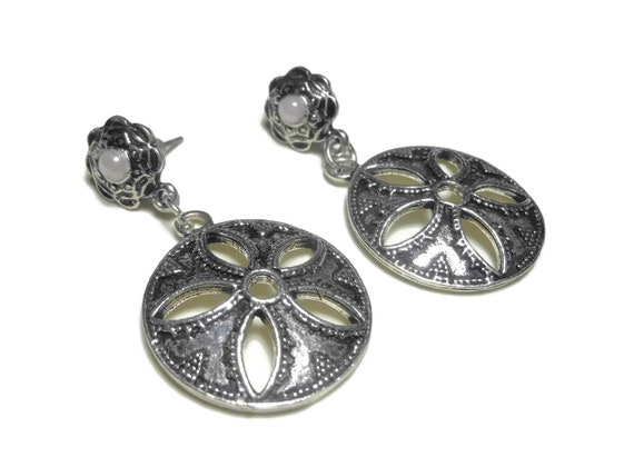 Opalescent sand dollar earrings, floral glass pearl stud, dangle sea shells, destination wedding, cruise wear, vacation wear,  silver plated