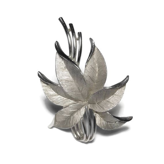 Crown Trifari brooch, silver leaf brooch, beautifully detailed brushed leaves, flower or poinsettia