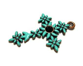 Green cross pendant, mint green enamel flowers on copper base with black rhinestone center, floral cross