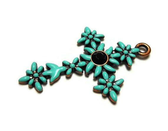 Green cross pendant, mint green enamel flowers on copper base with black rhinestone center, floral cross
