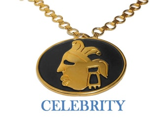 Celebrity pendant necklace, Aztec Mayan gold face mask, black matte oval, framed in gold, gold link chain necklace, rare