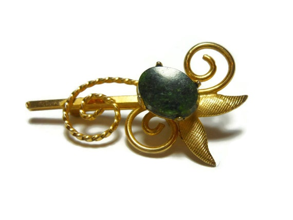 Ekelund floral lapel pin brooch, 1/20 12k gf with malachite or agate stone, graceful swirls, small